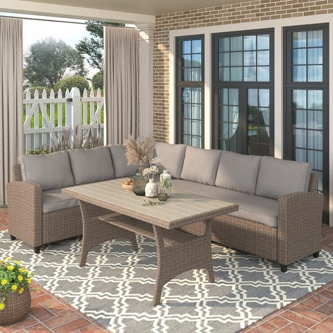 Patio Outdoor Furniture PE Rattan Wicker Conversation Set All-Weather Sectional Sofa Set with Table & Soft Cushions