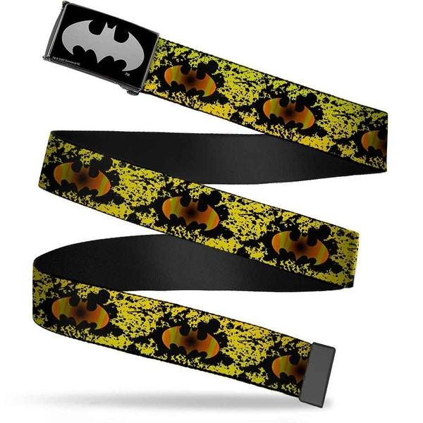 Batman Reverse Brushed Silver Cam Bat Signal Fade Paint Splatter Black Web Belt