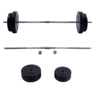 Costway New 66 LB Barbell Dumbbell Weight Set Gym Lifting Exercise Curl Bar Workout