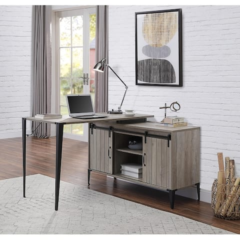 TiramisuBest Home office L-Shape Industrial Writing Desk, Gray Oak