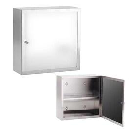 "12"" Mini Medicine Cabinet Brushd Stainless Mirror Wall Mount"