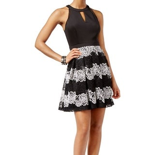 Guess NEW Black Women's Size 4 Pleated Lace Keyhole Striped Dress