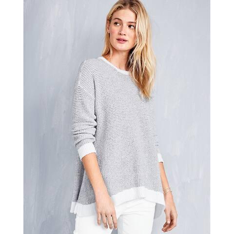 Eileen Fisher Peruvian Organic-Cotton Boucl Sweater, Dark Pearl , Large Petite