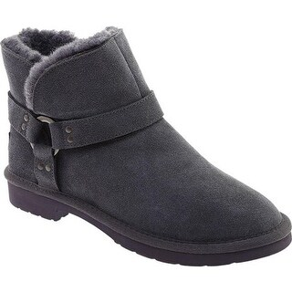 Portland Boot Company Women's Alberta Buckle Bootie Charcoal Suede