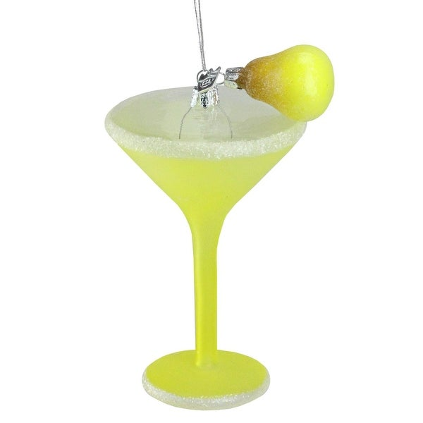 "6"" Happy Hour Hand-Painted Pear Martini Cocktail Glass Christmas Ornament - green"