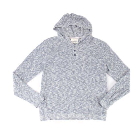 Weatherproof Mens Hoodie Blue Size Small S Henley Linen Blend Pullover