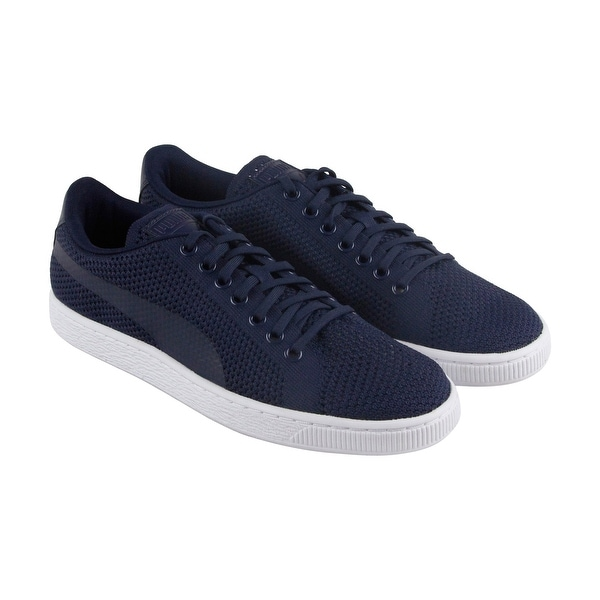 d31aad91d3c Shop Puma Basket Classic Evoknit Mens Blue Textile Sneakers Shoes ...