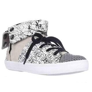 Rebecca Minkoff Spencer Foldover Sneakers - Creme/Black