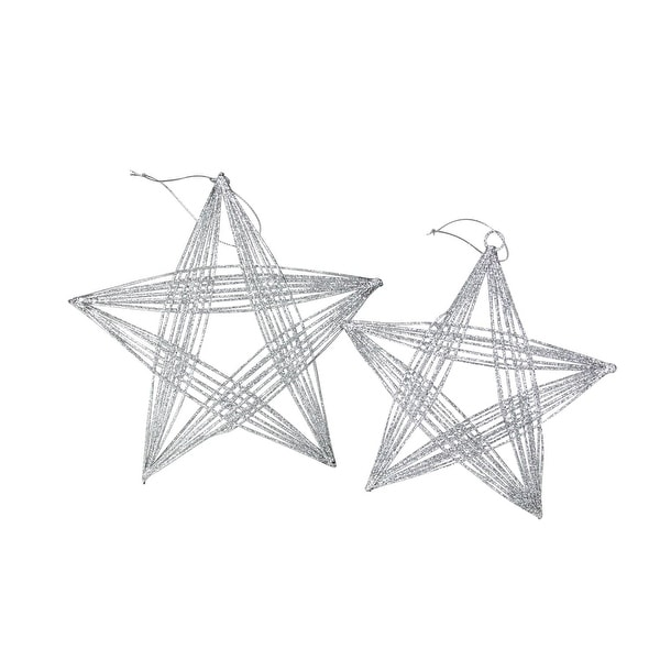 """Set of 2 Silver Glittered 3-D Wire Frame Star Christmas Ornaments 8.25"""""""
