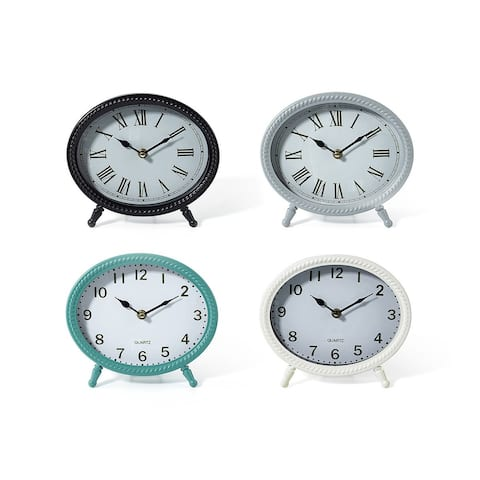 Set of 4 Soothing Colored Round Sculpture Table Clocks 8.25""