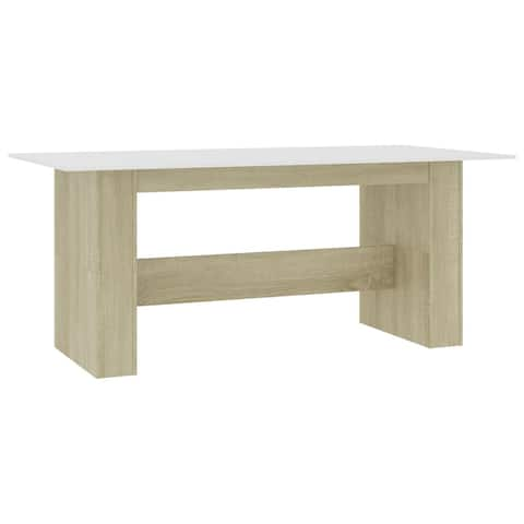 "vidaXL Dining Table White and Sonoma Oak 70.8""x35.4""x29.9"" Chipboard"
