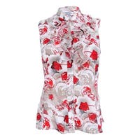 Tahari ASL Women's Petite Floral-Print Ruffled Blouse - Ivory/Beige/Red