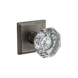 Baldwin PV.CRY.TSR Crystal Privacy Door Knob Set with Traditional Square Trim from the Reserve Collection