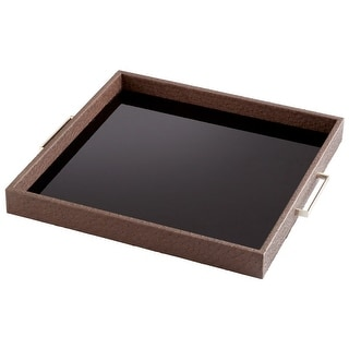 """Cyan Design Large Chelsea Tray  Chelsea 19"""" Wide Iron Glass and Wood Tray - Brown"""