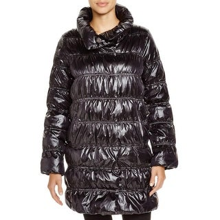 Eileen Fisher Womens Puffer Coat Down Feather Ruched