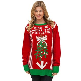 Under The Mistletoe Sweater, Ugly Christmas Sweater - Red
