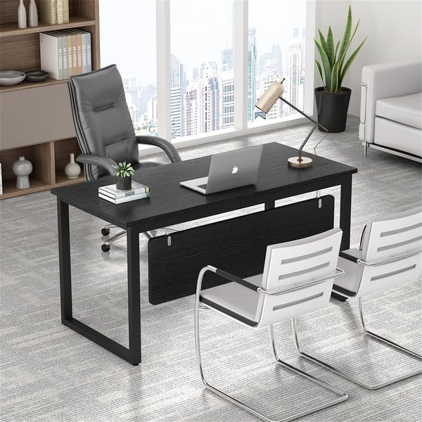 55 Inch Modern Computer Desk Office Desk Writing Table Workstation Overstock 32893594 Black