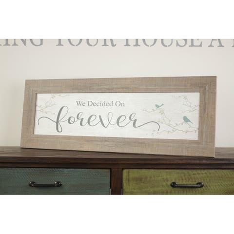 "We Decided On Forever Framed Wedding Shower Marriage Gift Bedroom Decor 14x40"""