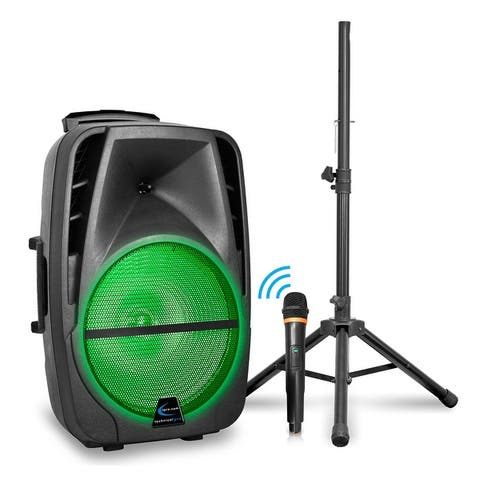 """Technical Pro 3000 Watts Rechargeable 12"""" Bluetooth LED Speaker Package with Tripod & Wireless Microphone"""
