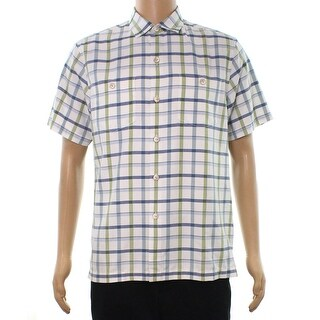 Tommy Bahama NEW White Mens Size Small S Button Down Silk Plaid Shirt