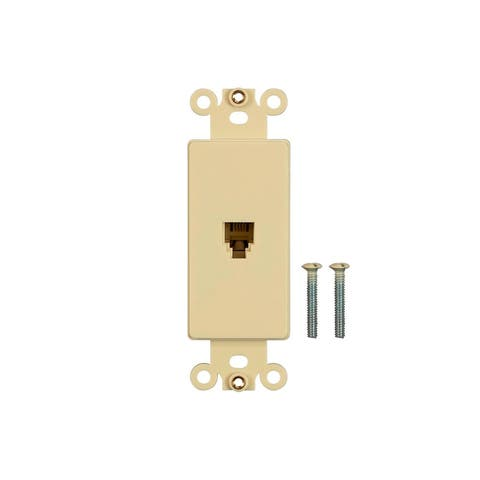 Monoprice Dcor Insert with Phone Jack - Ivory for Home Office Personal Install