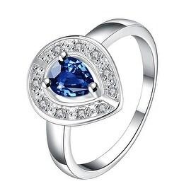 Mock Sapphire Curved Pendant Petite Ring