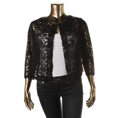 Connected Apparel Womens Plus Cardigan Top Lace Overlay Elbow Sleeves