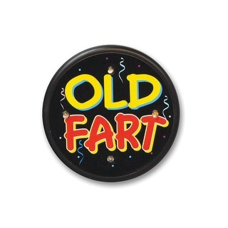 """Pack of 6 Black """"Old Fart"""" Flashing Birthday Celebration Buttons 2.5"""""""