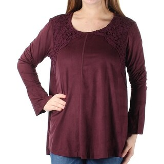 Womens Burgundy Long Sleeve Jewel Neck Casual Top Size M