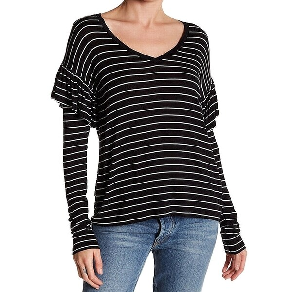 b27de36c Shop Abound NEW Black White Size Large L Striped Ruffle V-Neck Tee T-Shirt  - Free Shipping On Orders Over $45 - Overstock - 21908471
