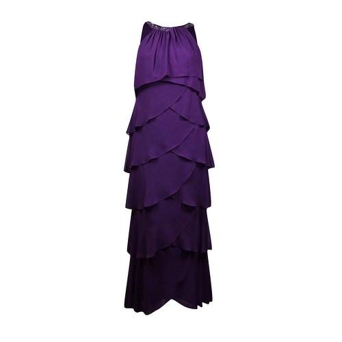 S.L. Fashions Women's Sleeveless Embellished Tiered Chiffon Dress - Plum - 4