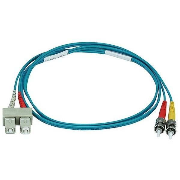 Monoprice Fiber Optic Cable - ST to SC, OM3, 50/125 Type, Multi Mode, 10Gb, Duplex, Aqua, 1m