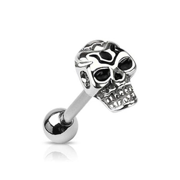 "Surgical Steel Barbell with Casted Death Skull Top - 14 GA - 5/8"" Long (Top 10x8mm) (Sold Ind.)"