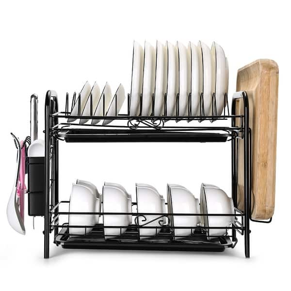 Details about  /Dish Drying Rack Stainless Over-the-Sink Kitchen Dish Drainer Rack 2-Tier Large