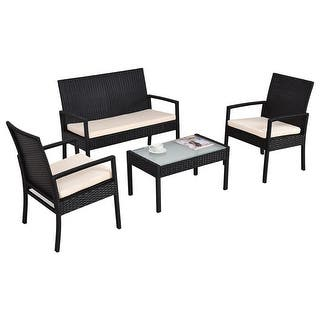 costway 4 pcs outdoor patio furniture set table chair sofa cushioned seat garden - Garden Furniture Table And Chairs