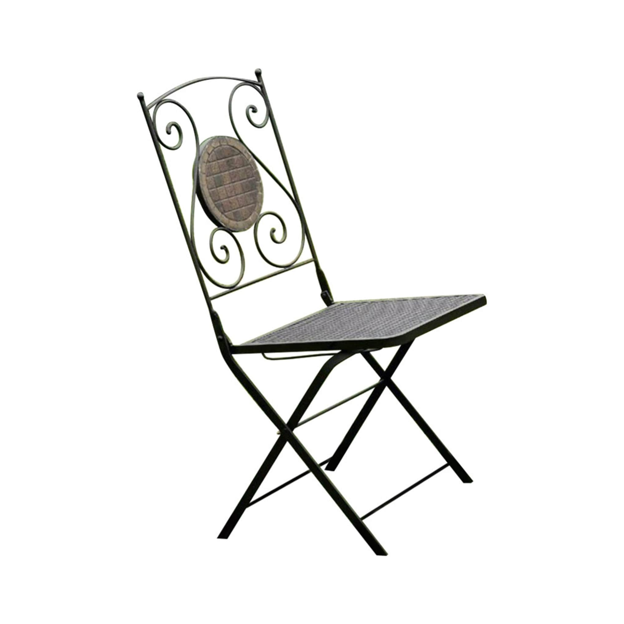 2 Piece Minimalistic Folding Metal Chair With Decoration On Back Black Overstock 29450440