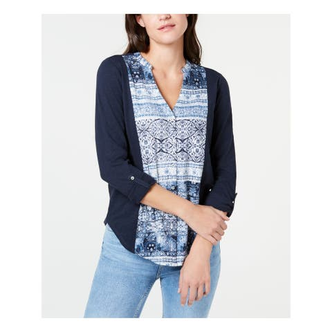 LUCKY BRAND Womens Navy Printed Long Sleeve V Neck Top Size SP