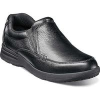 Nunn Bush Men's Cam Moc Toe Slip On Black Tumbled Leather
