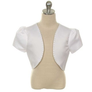 Rain Kids White Satin Pearl Trimmed Short Sleeve Bolero Girls 8-14