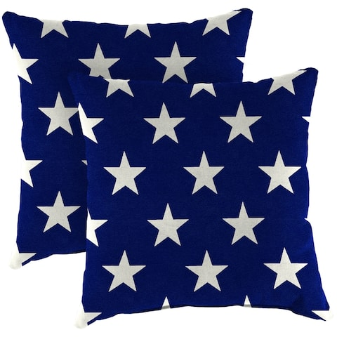 "16"" Set of Toss Pillows in Navy and White Stars"