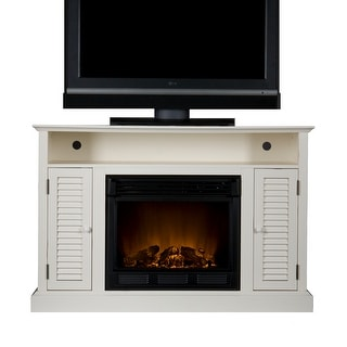 Southern Enterprises FE9306 Antebellum Media Electric Fireplace - Antique White