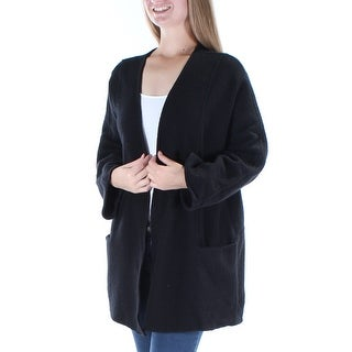 ALFANI $180 Womens New 1188 Black Pocketed Open Cardigan Long Sleeve Top M B+B
