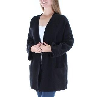 ALFANI $180 Womens New 1369 Black Pocketed Open Cardigan Long Sleeve Top M B+B