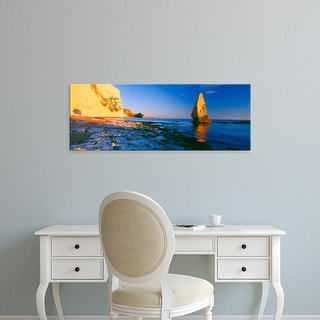 Easy Art Prints Panoramic Images's 'Rock formations in the sea, Bat's Head, Dorset, England' Premium Canvas Art