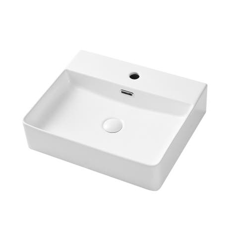 CLihome Above Counter Wall Mounted White Ceramic Rectangular Vessel Sink