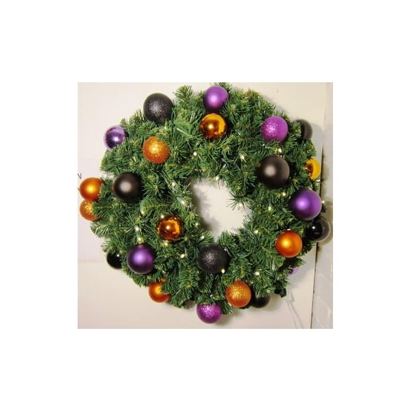 "Christmas at Winterland WL-GWSQ-04-HALL-LWW Halloween 48"" Wide 580 Point Pine Blend LED Lit Wreath with Ball Ornament Accents"