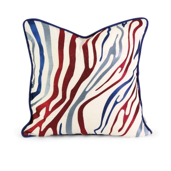 "18"" Decorative Multi-Colored Zebra Print Embroidered Down Linen Throw Pillow"
