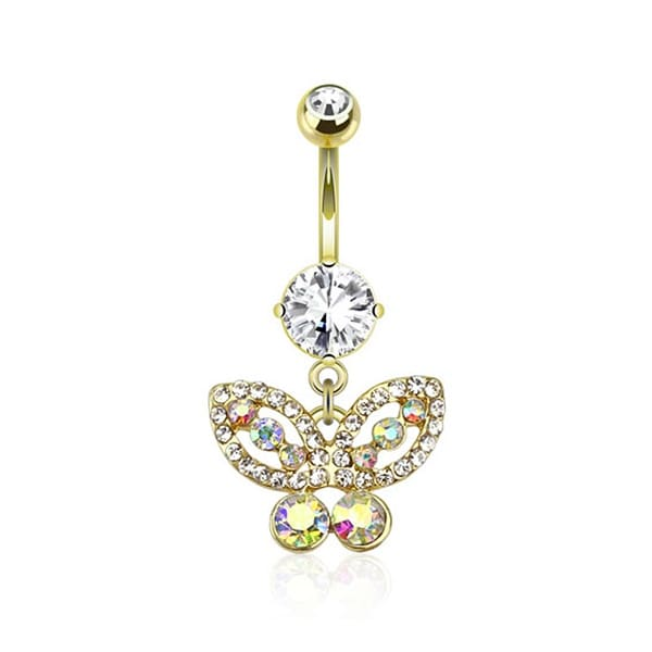 Butterfly Gem Paved Dangle gold-plated Navel Belly Button Ring