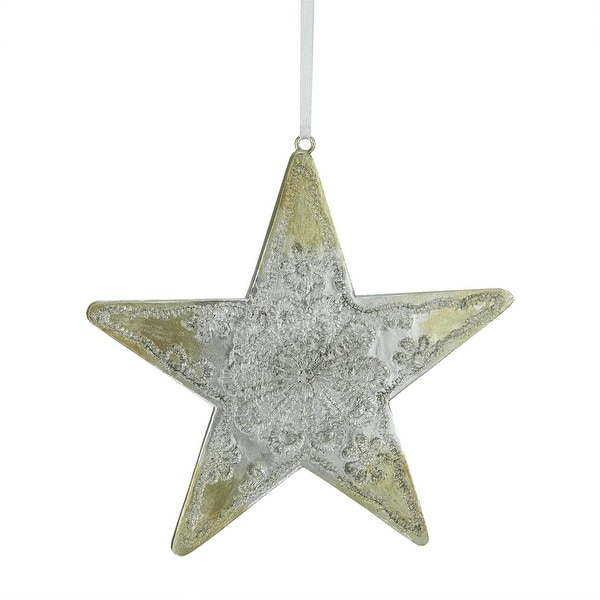 "4.75"" Happy Holidays Sliver and Gold Carved Polyresin Star Christmas Ornament"