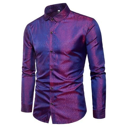 Men Long Sleeve Casual Slim Fit Cotton Fashion Button Down Dress Shirt